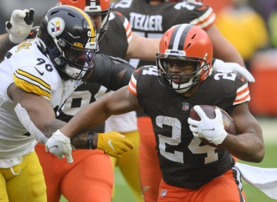 Nick Chubb in action against the Pittsburgh Steelers.