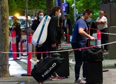 Stan Wawrinka arriving at the Grand Hyatt hotel in Melbourne on Thursday.