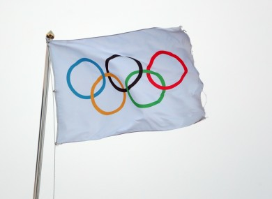 A general view of an Olympic flag.