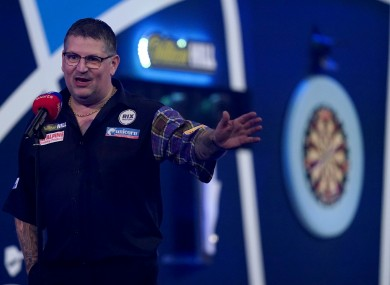 Gary Anderson is interviewed following his victory over Dirk Van Duijvenbode.