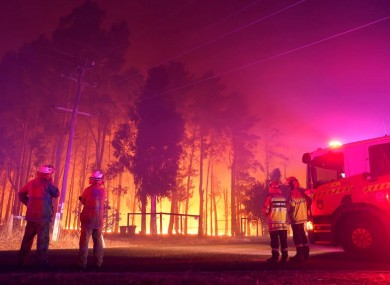 Firefighters at the scene of the wildfire today