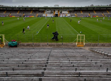 A general view of St Tiernachs Park, Clones with Ulster SFC played in front of empty stands.