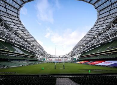 The Aviva Stadium in Dublin.