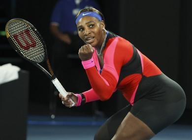Serena Williams celebrates during her quarter-final win over Simona Halep.