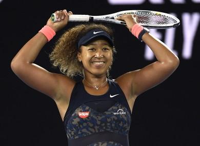 Naomi Osaka reacts after sealing victory against Jennifer Brady in today's Australian Open final.