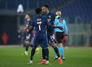 Bukayo Saka and Pierre-Emerick Aubameyang celebrate after the former equalised.