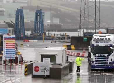 Trucks leaving Larne Port
