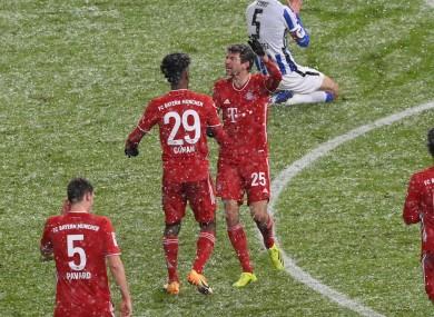 Bayern Munich players celebrate.