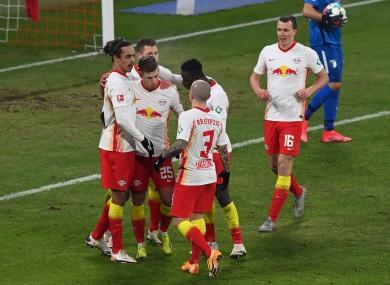 RB Leipzig players celebrate.