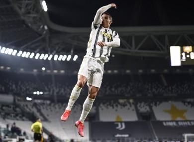 Ronaldo celebrates scoring for Juventus.