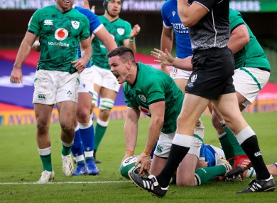 Sexton celebrates a try for Ireland last year.