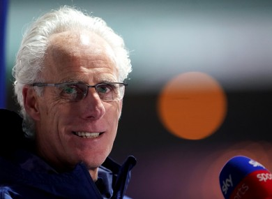 Cardiff City manager Mick McCarthy being interviewed by Sky Sports after the final whistle.