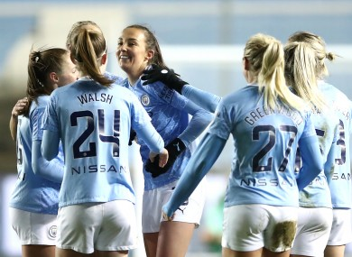 Manchester City's Caroline Weir (centre) celebrates scoring.