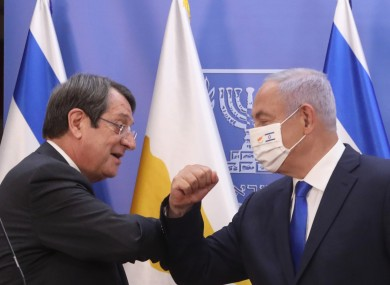 Cypriot President Nicos Anastasiades (left) and Israeli Prime Minister Benjamin Netanyahu attend a press conference after a meeting in Jerusalem yesterday.