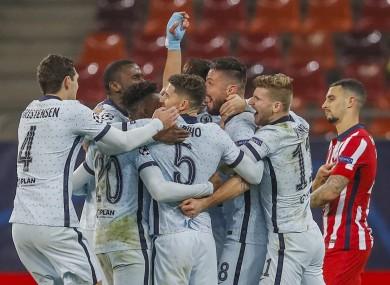 Giroud and team-mates celebrate his goal.