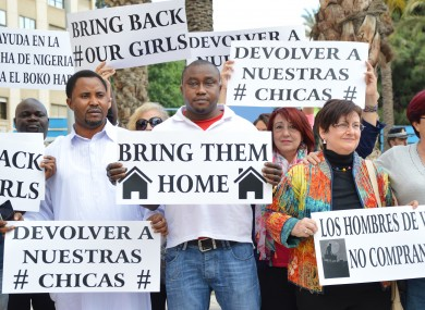 File photo. Protesters campaign for return of schoolchildren abducted by Boko Haram.