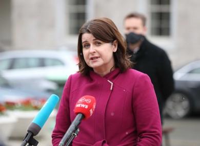 Jennifer Whitmore speaking outside Leinster House last week