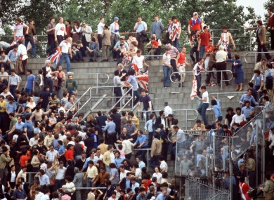 England fans in Turin in 1980.