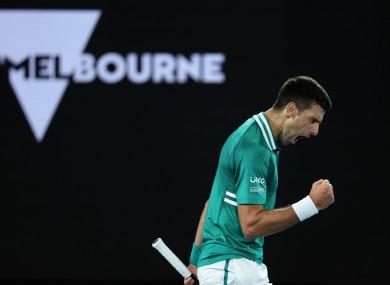 Novak Djokovic celebrates during the match.
