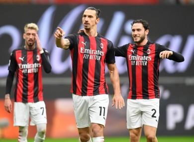 AC Milan's Zlatan Ibrahimovic (C) celebrates.