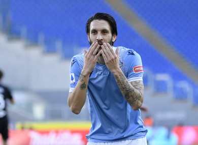 Luis Alberto of SS Lazio celebrates.