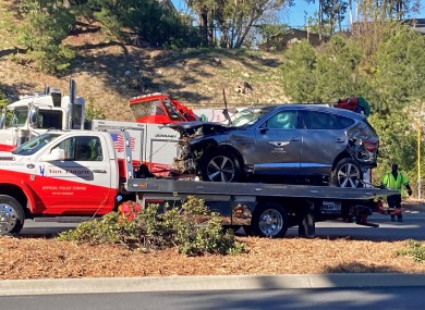 The vehicle driven by Tiger Woods on the back of a truck in Los Angeles.