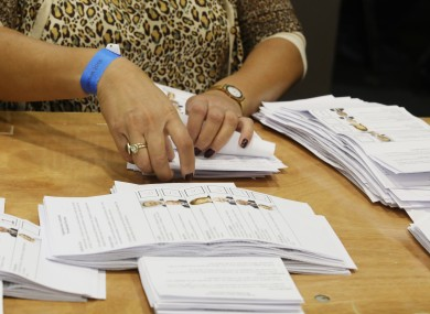 Tellers counting the ballot papers and votes in the Presidential election.