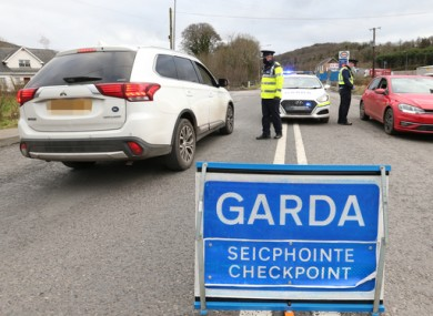 File image of a Garda checkpoint last month.