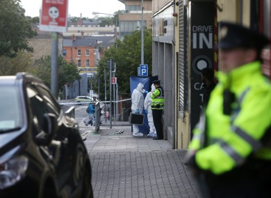 Gardaí attending the scene on Bridgefoot Street, Dublin 1, 2016.