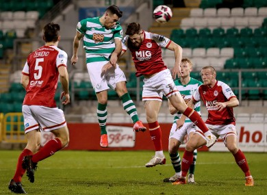 Shamrock Rovers' Aaron Greene heads home the goal that rescued a point.