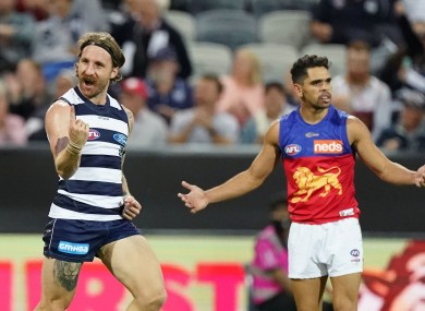 Zach Tuohy of the Cats celebrates after kicking a goal during the Round 2 AFL match between the Geelong Cats and Brisbane Lions.