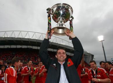 Quinlan celebrates Munster's 2011 triumph against Leinster.