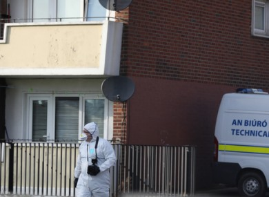 Gardai and members of the Technical Bureau (Forensic Teams) at the scene on Saturday.