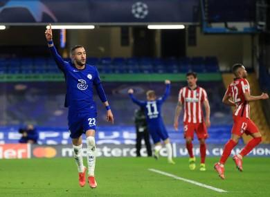 Hakim Ziyech celebrates scoring Chelsea's opening goal.