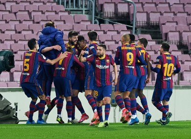 Barcelona celebrate Gerard Pique's goal.