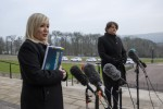 Michelle O'Neill and Arlene Foster at today's announcement.
