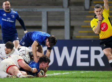 Dan Sheehan gets Leinster's fifth try.