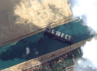 Satellite image from Maxar Technologies shows the Ever Given cargo ship stuck in the Suez Canal.