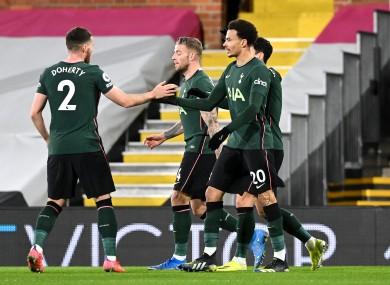 Tottenham Hotspur's Dele Alli celebrates with team-mates.