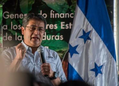 President Juan Orlando Hernández during a speech in 2019.