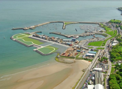 An aerial view of the proposed development