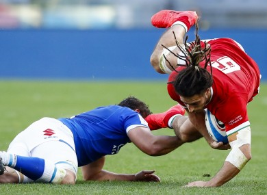 Josh Navidi is tackled in Rome today.