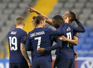 France players celebrate with Dembele.
