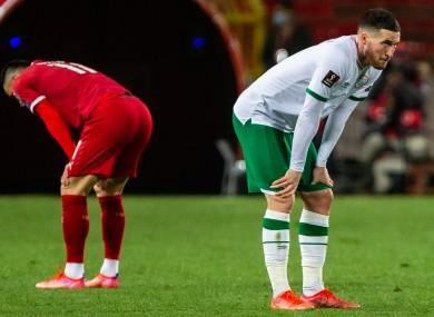 Ireland's Matt Doherty dejected after the game.