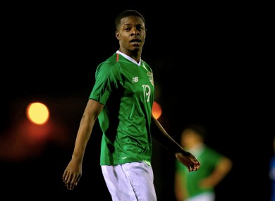 Ademipo Odubeko pictured during an Ireland U17 friendly in 2019.