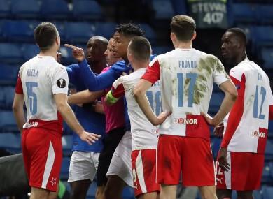 Players argue during their Europa League clash.