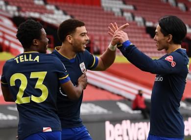 Che Adams celebrates his goal.