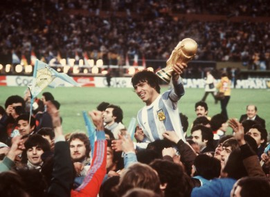 Daniel Passarella with the trophy after the 1978 World Cup final.