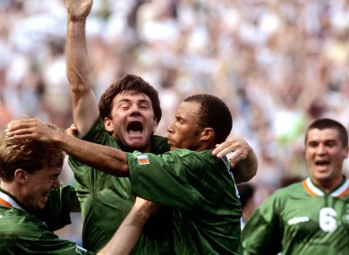 Ray Houghton celebrates a famous goal against Italy in the Giants Stadium