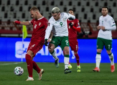 Aaron Connolly in action against Serbia on Wednesday.